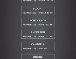 Service Times for New Year's Weekend